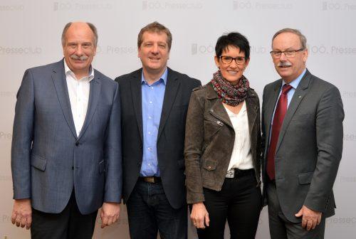 GVV OÖ Landesvorsitzender Bgm. Manfred Kalchmair, SPÖ OÖ Klubobmann Christian Makor, Bgm.in Monika Pachinger, Bgm. Erich Hackl.